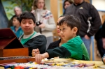 "Kids creating their ""mosaic"" pieces at Arts Day in Simsbury"