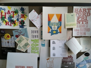 Artwork at the Hartford Prints! studio.