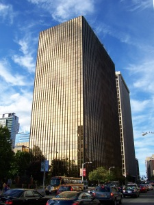 "UTC's iconic ""Gold Building"" headquarters in downtown Hartford."